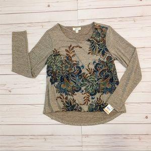 NWT Style & Co Gray with Blue Floral Design Blouse
